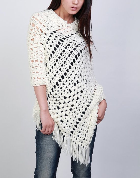 Hand crocheted woman poncho crochet scarf white cream scarf   tejer ...