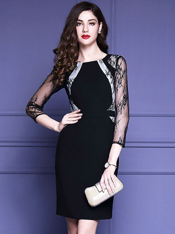 Sexy O-Neck 3/4 Sleeve Lace Bodycon Dress from DressSure.com ...