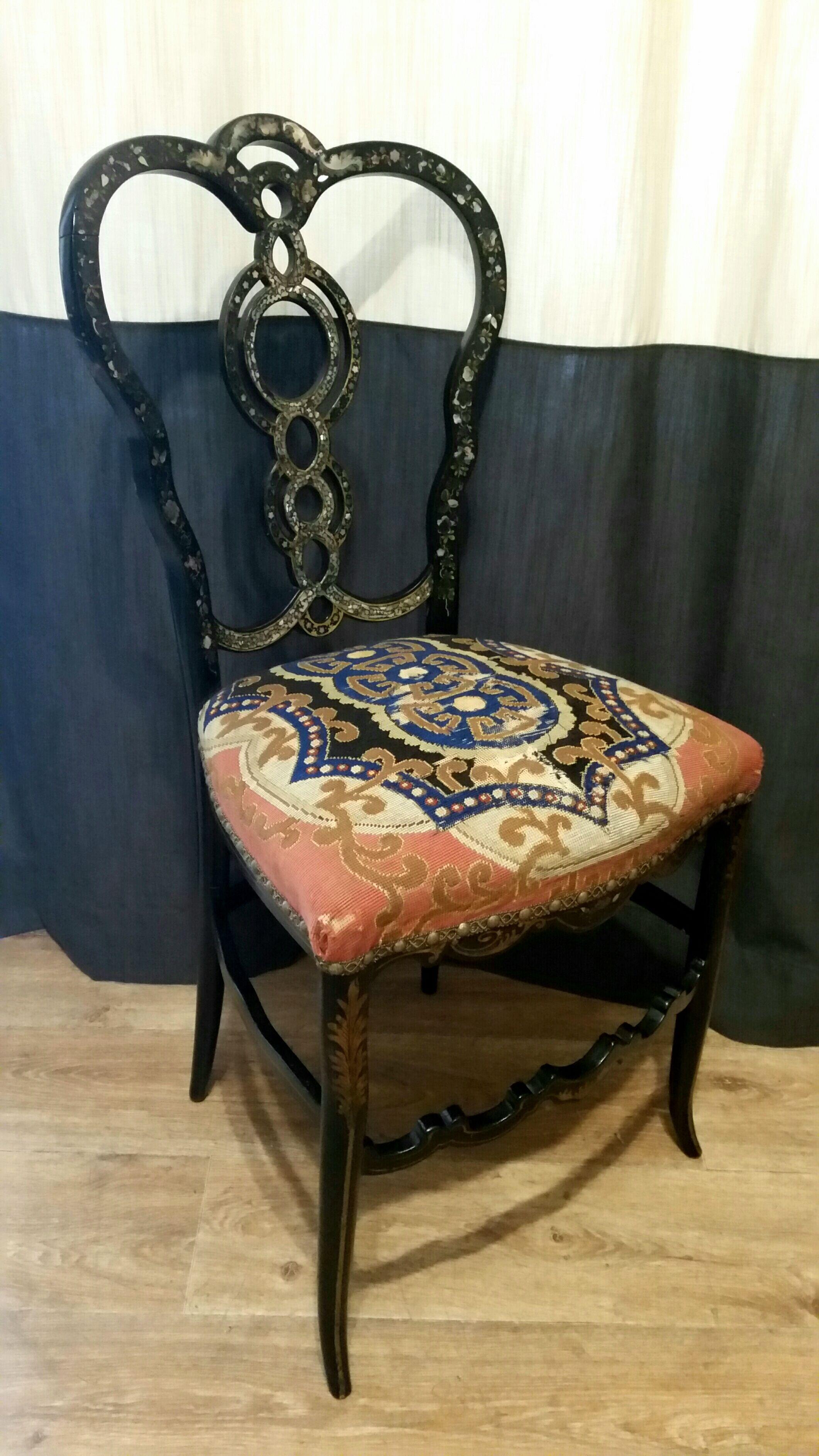 Chaise 19e Sicle Marquete Restauration