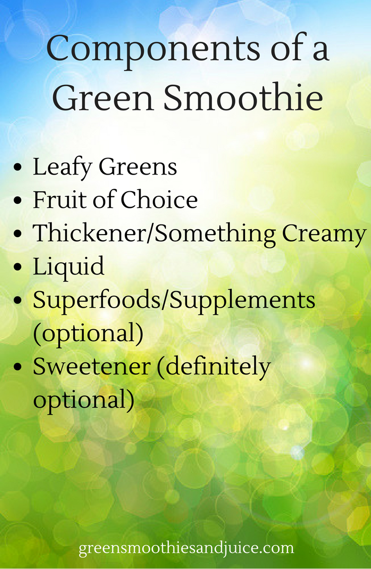 A good green smoothie is made up of the following components:  Leafy Greens Fruit of Choice Thickener/Something Creamy Liquid Superfoods/Supplements (optional) Sweetener (definitely optional)  #greensmoothie #smoothie #healthtips #rawfood #gogreen #healthyliving #eatwell #livewell #breakfastofchampions
