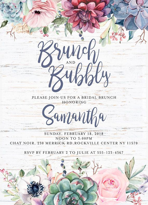 brunch and bubbly bridal shower invitation floral boho rustic