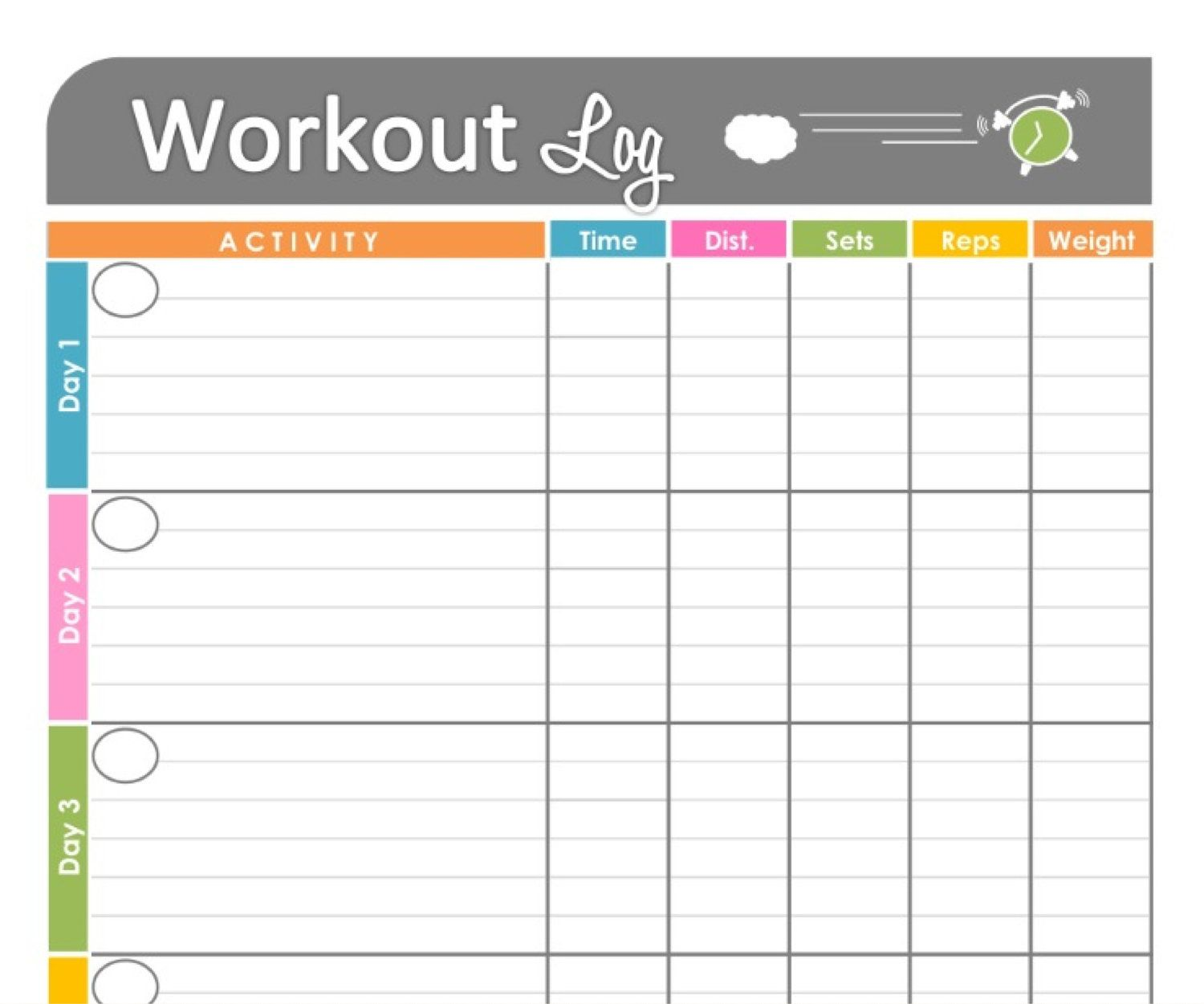 Workout Log Exercise Log Printable For By