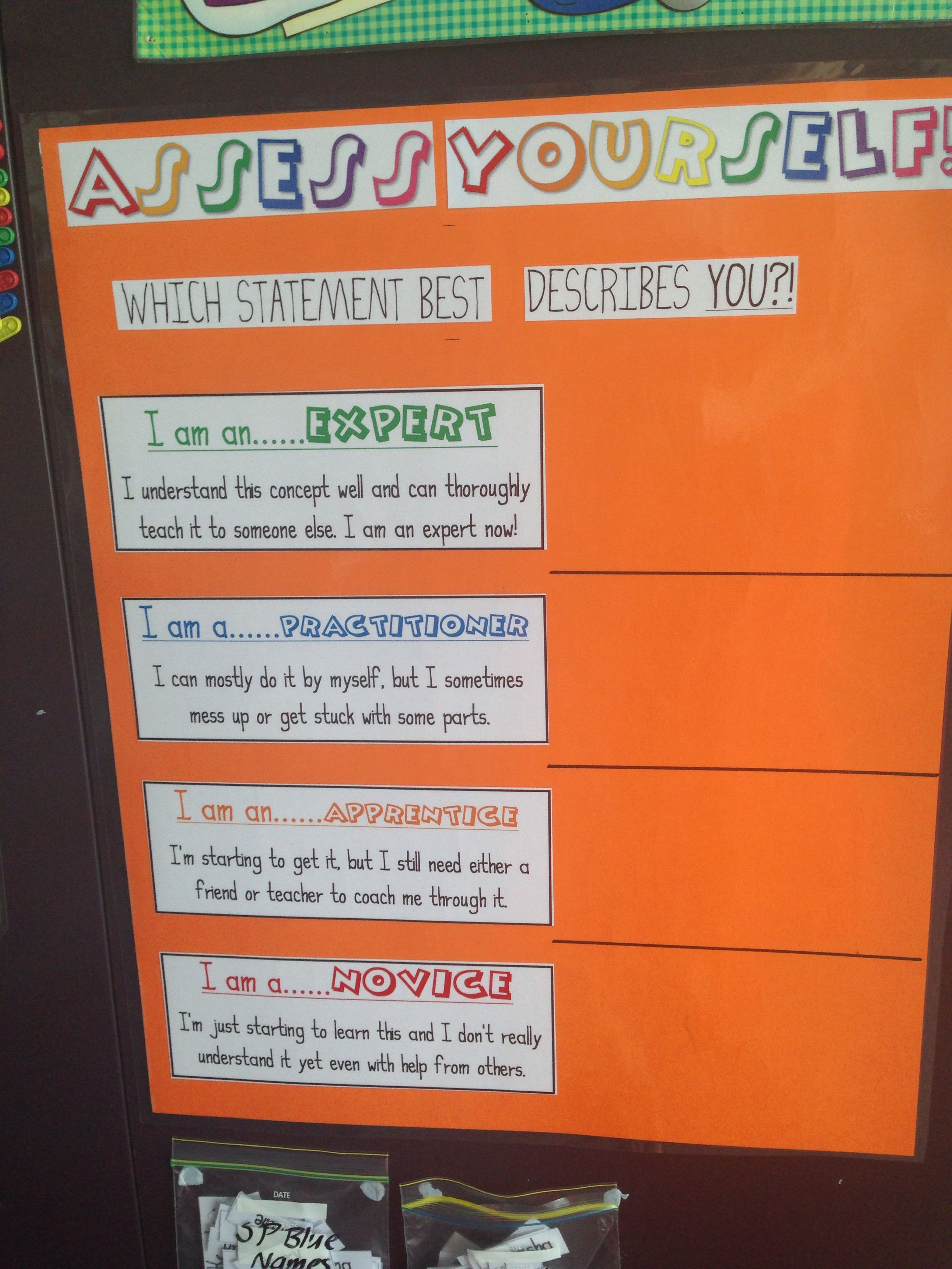 Self Assessment Visible Learning Tool For Students Name