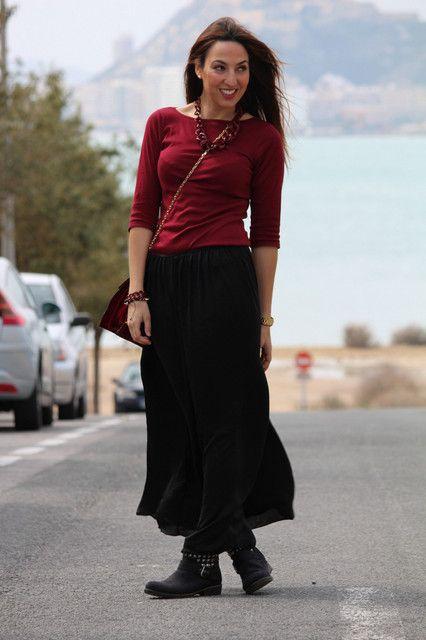 b8b374e89 Looks con faldas largas negro - Trendtation | Style | Looks con ...