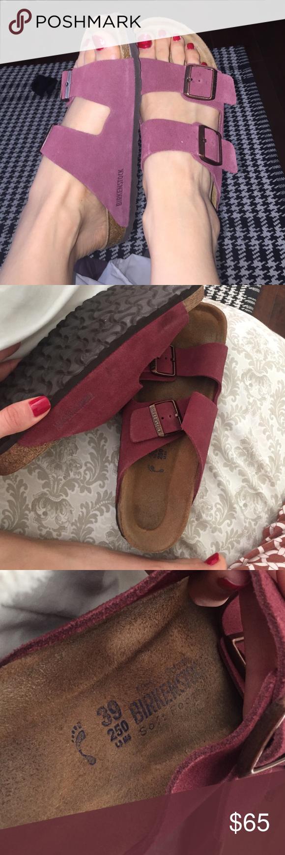 Suede Birkenstocks Burgundy / Maroon Burgundy Suede Birkenstocks - fairly new condition! Birkenstock Shoes Sandals