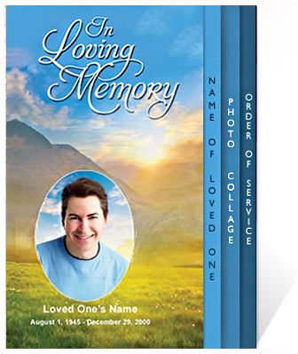 Funeral Programs Horizon Outdoor Themed Single Fold Template For