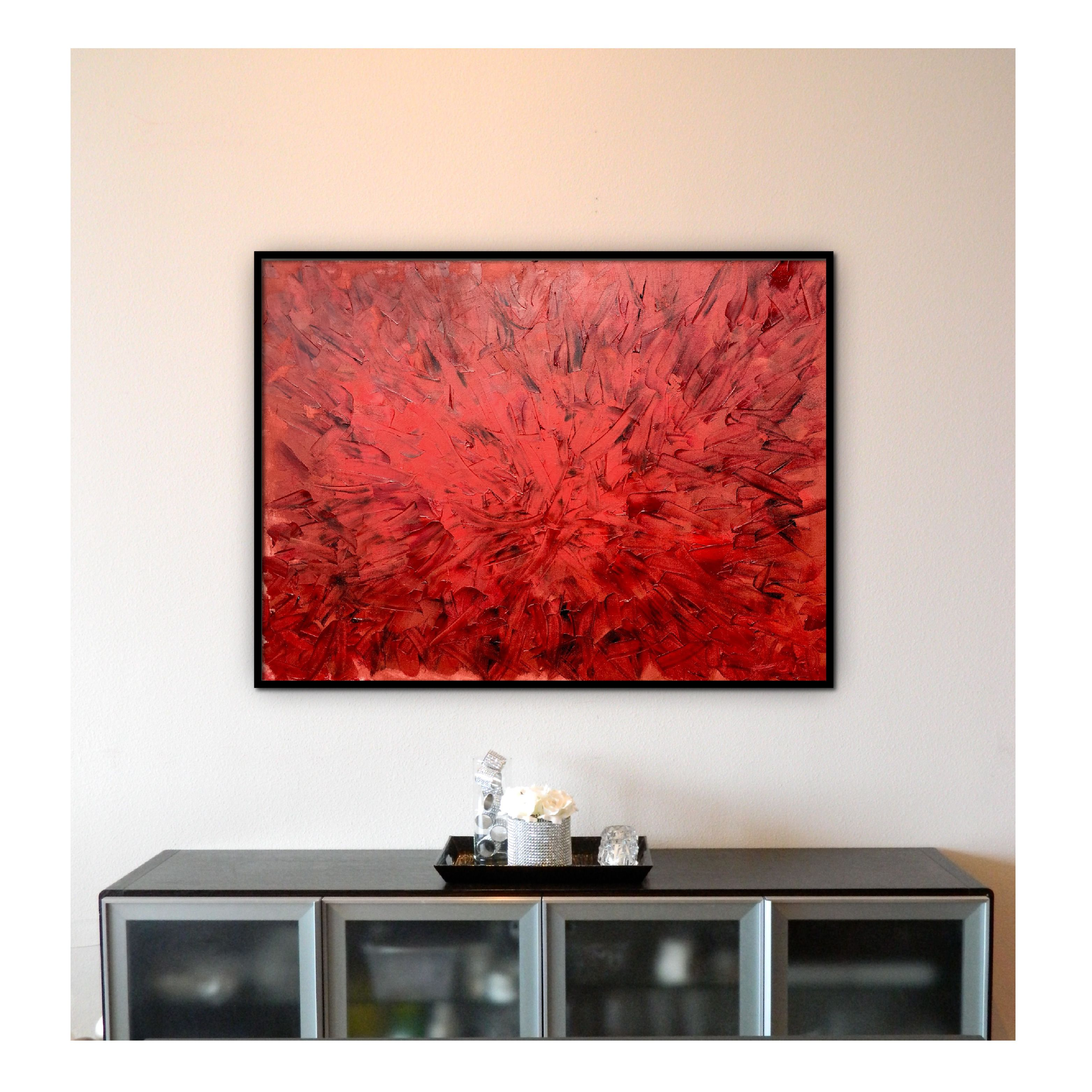 Big Red Redux 3 Oil Painting On Canvas Red Wall Art Oil Painting Abstract #red #wall #art #for #living #room