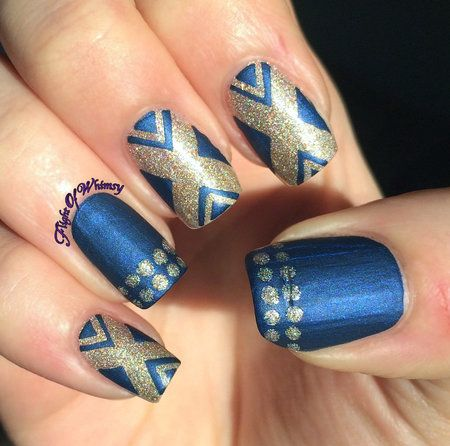 X Marks the Spot #bluemani #gold #pretty #nails #nailart - bellashoot.com & bellashoot iPhone & iPad app