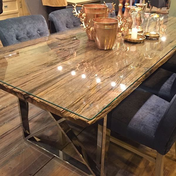 Kensington Reclaimed Wood Dining Table With Glass Top Reclaimed