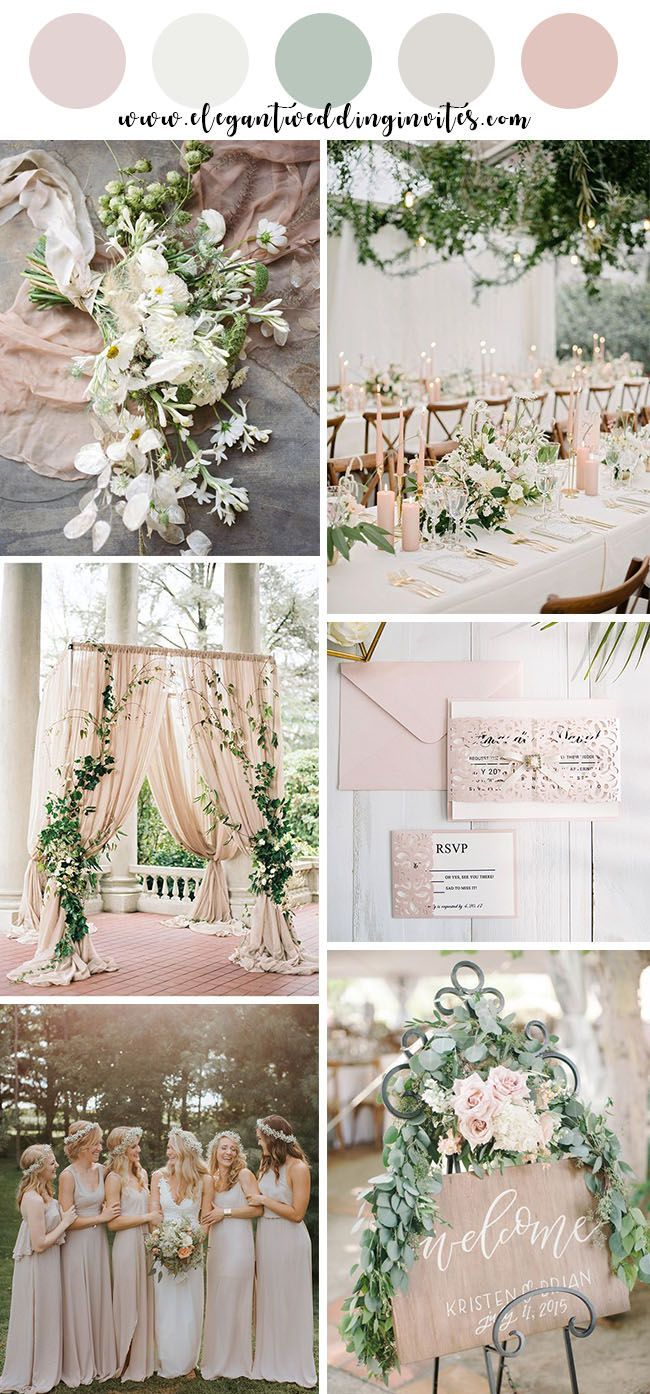 romantic blush and ivory garden wedding color palettes #weddingcolors #ElegantWeddingInvites