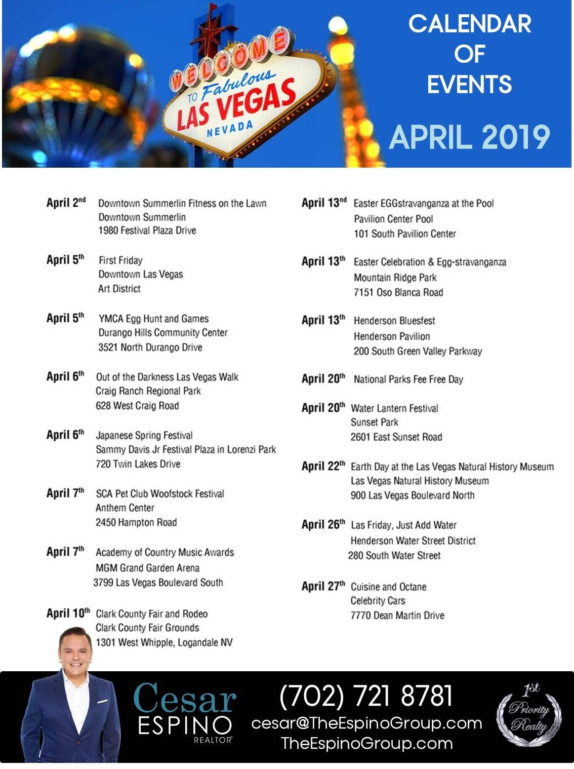 Las Vegas Calendar Of Events 2019 For our Clients in Las Vegas Calendar of Events for April 2019