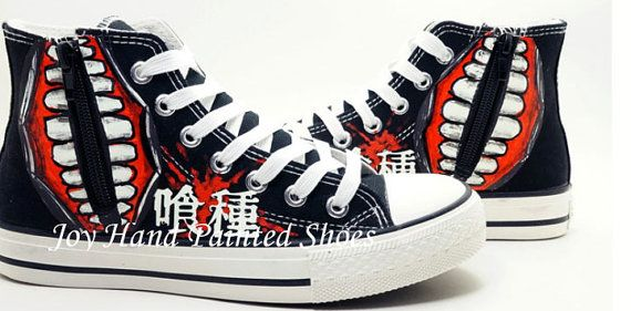 f37220daa257 tokyo ghoul Anime Shoes Glow In The Dark painted shoes Hand Pain ...