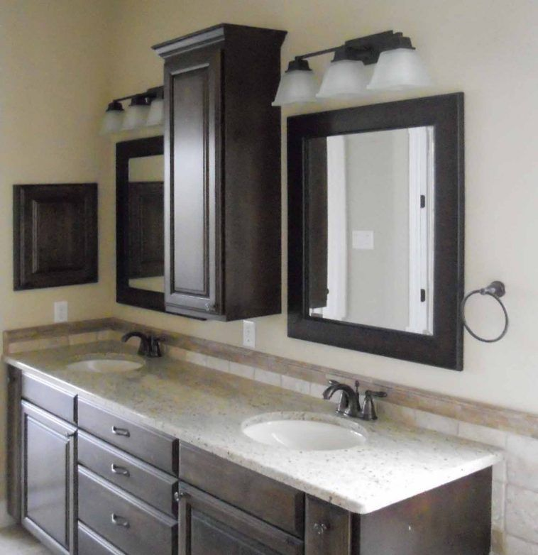 Bathroom Ideas Black Stained Wood Vanity Cabinet With White Marble Counter Top And Double Sink Also Bathroom Wall Storage Diy Bathroom Vanity Bathroom Mirror