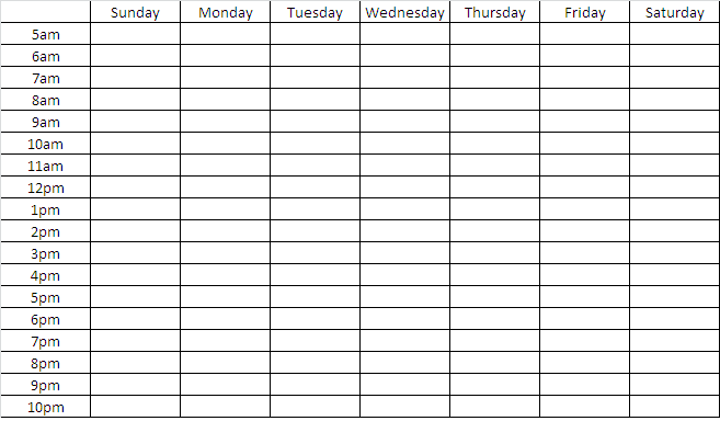 Blank Weekly Chart Template  Search Engine  Image  Blank Weekly
