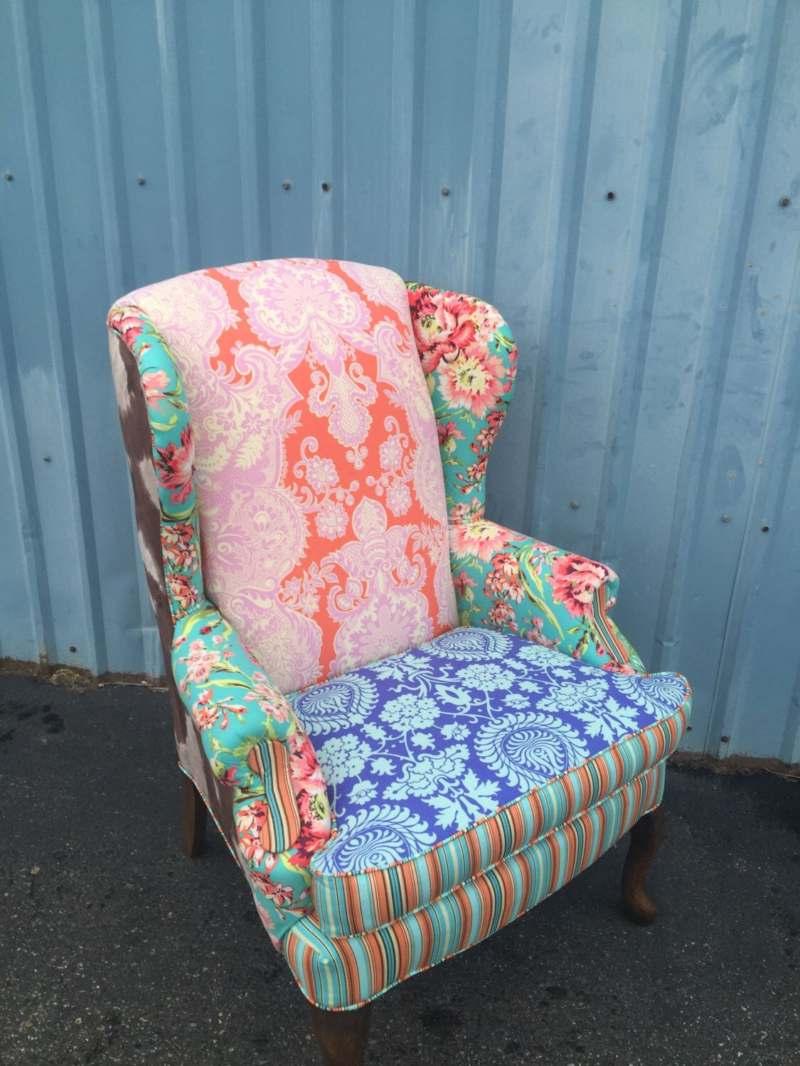 Wingback Chair Upholstered Vintage with Amy Butler Fabric