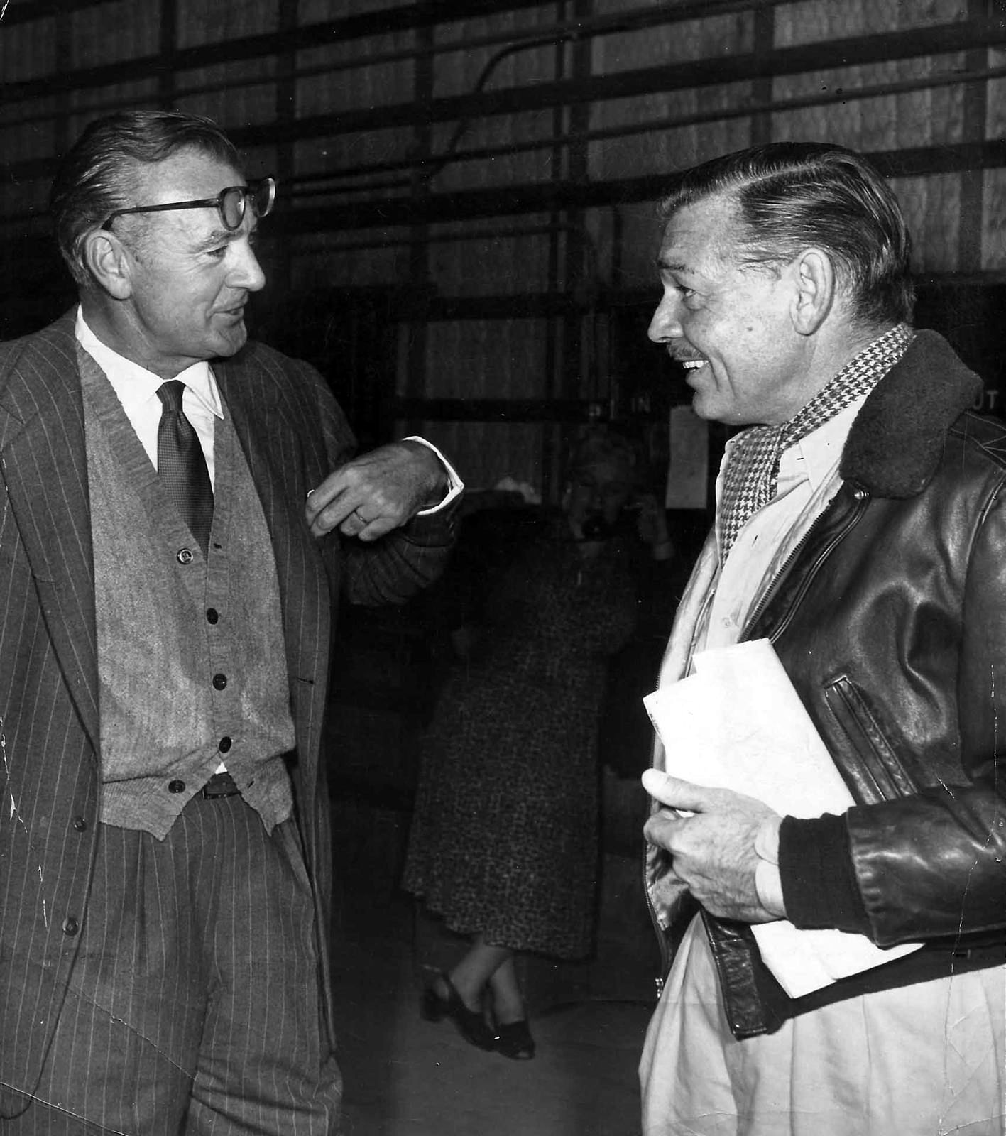 Gary Cooper visits Clark Gable on the set of Soldier of ...