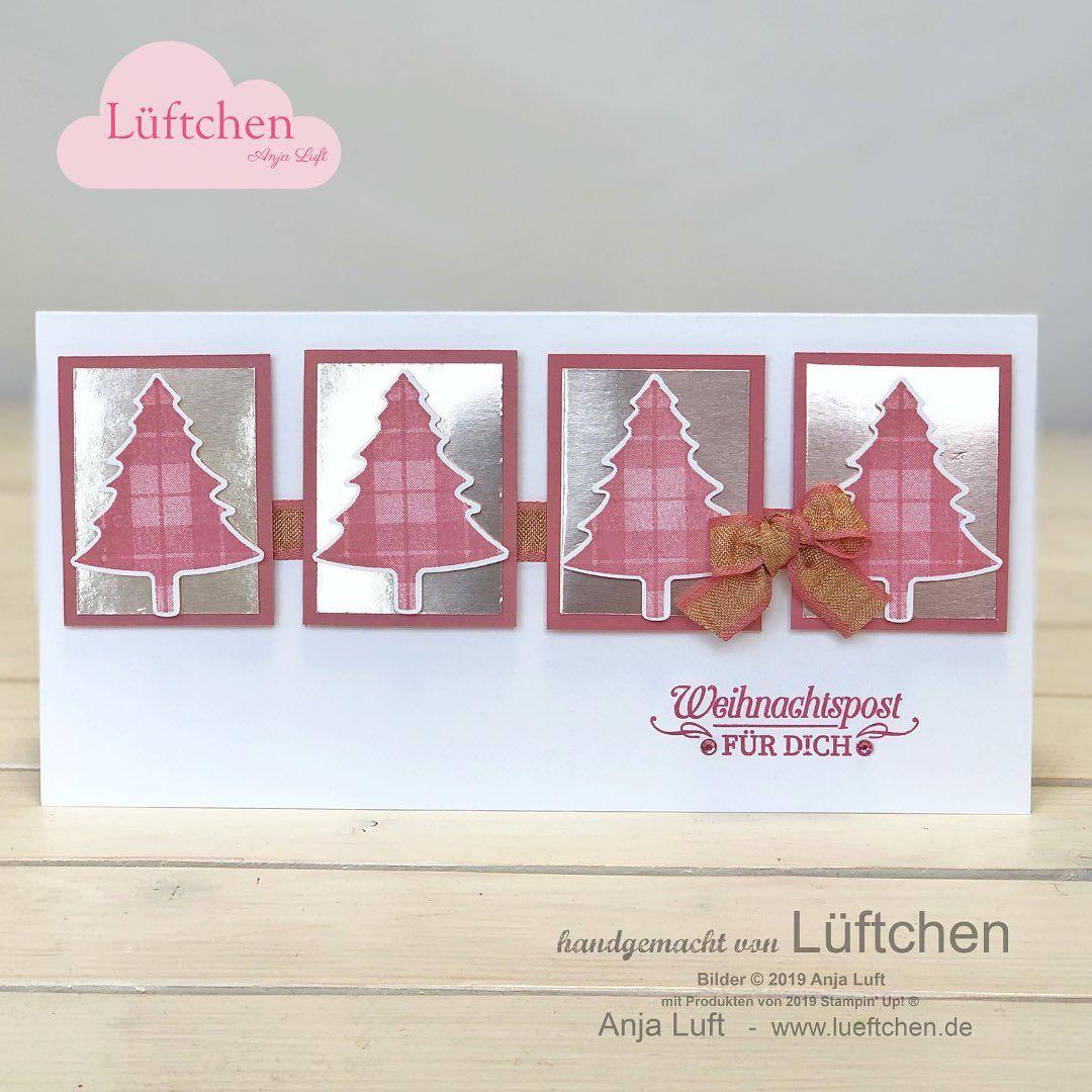 """Lüftchen - Anja Luft - SU Demo on Instagram: """"Am Wochenende habe ich die ersten Weihnachtskarten mit dem neuen Set Tannen & Karos gebastelt. Darf eine Weihnachtskarte für dich auch rosa…"""""""