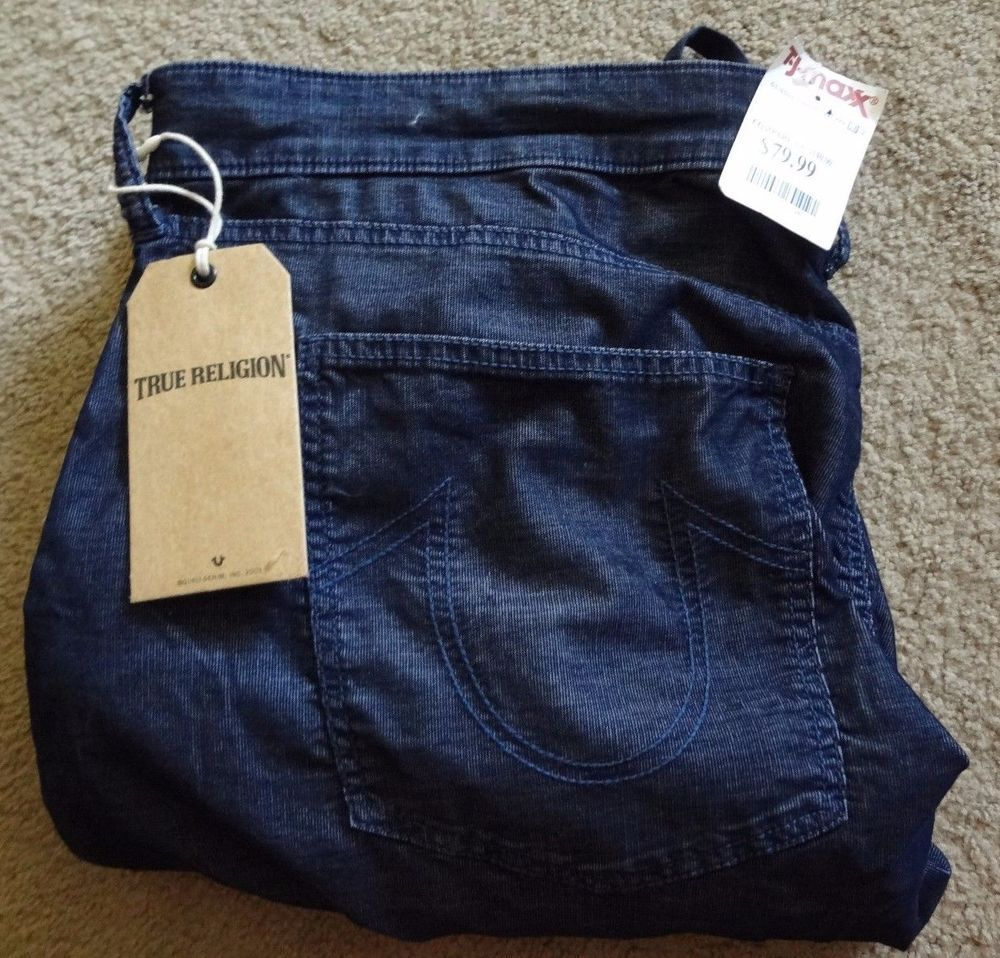 True Religion Men's Midnight Blue 42 Runner Relaxed Corduroy NWT Inseam 32.5 #TrueReligion #Corduroys