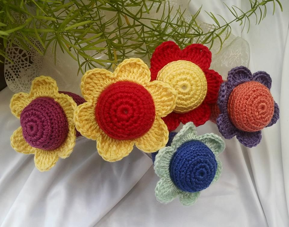 Crochet toys. Rattle flower with soft jingle bell sound