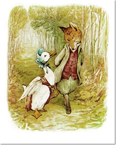 Beatrix Potter II - Beatrix Potter - The Tale of Jemima Puddle Duck - 1908 - Jemima and the Fox Painting