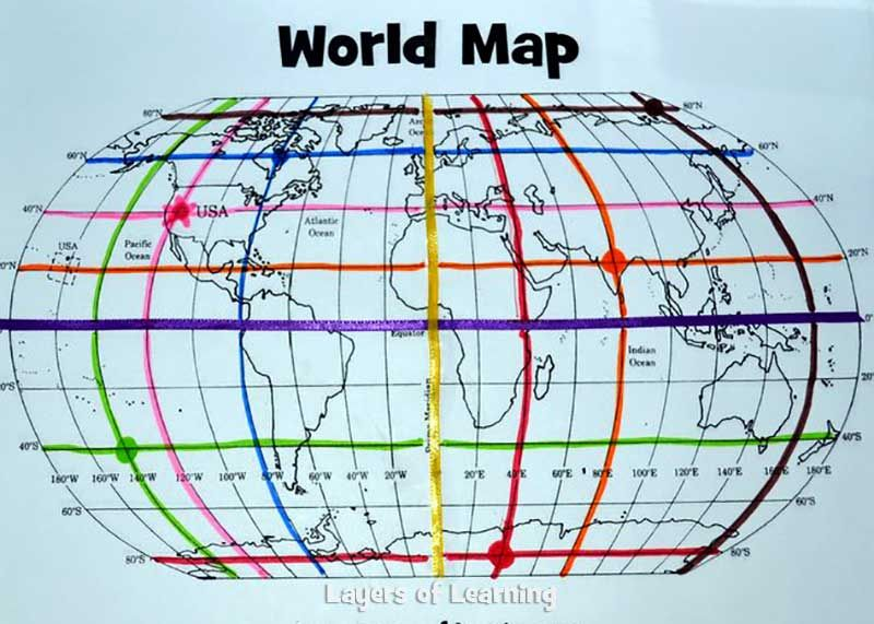This lesson plan includes a printable world map with a map grid printable world mapmapping activity this could be used for learning about the equator prime meridian and latitude and longitude in a colorful and gumiabroncs Gallery