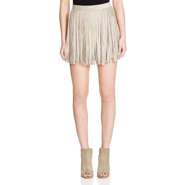 Bb Dakota Faux Suede Fringe Skirt (115 CAD) ❤ liked on Polyvore featuring skirts, toffee, suede fringe skirt, bb dakota, pink mini skirt, faux suede fringe skirt and faux suede mini skirt