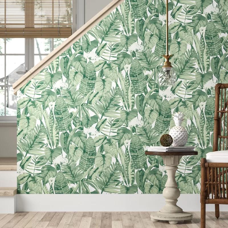 Waloo Tropical Jungle 16 5 L X 20 5 W Smooth Peel And Stick Wallpaper Roll Wallpaper Roll Peel And Stick Wallpaper Decor