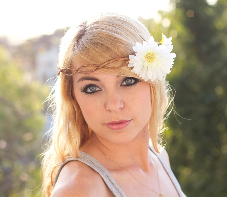 White Flower Crown Daisy Flower Headband Coachella Festival