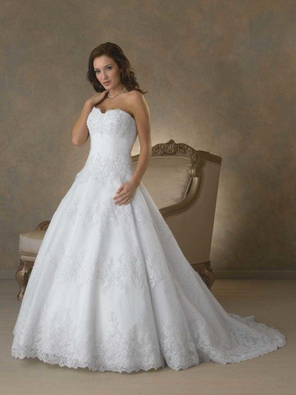 Embroideried Chapel Train Wedding Dresses A Line Style - pictures, photos, images