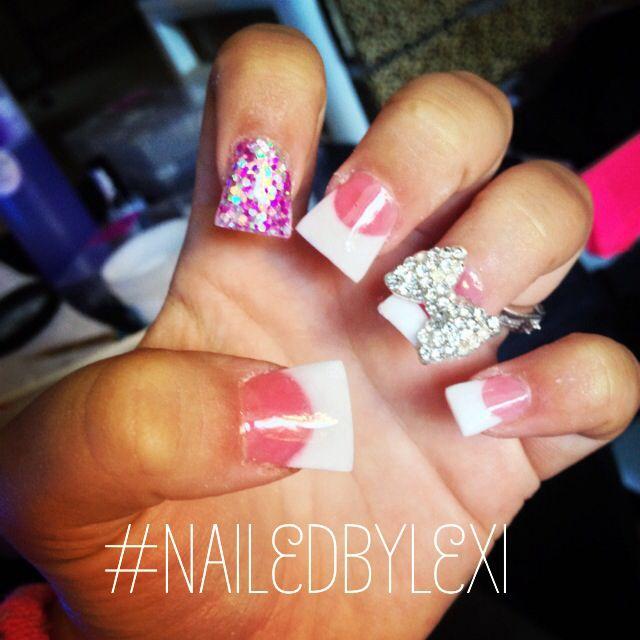 Acrylic nails, flared nails, duck feet nails, French tips. Follow my Instagram: @nailedbylexi