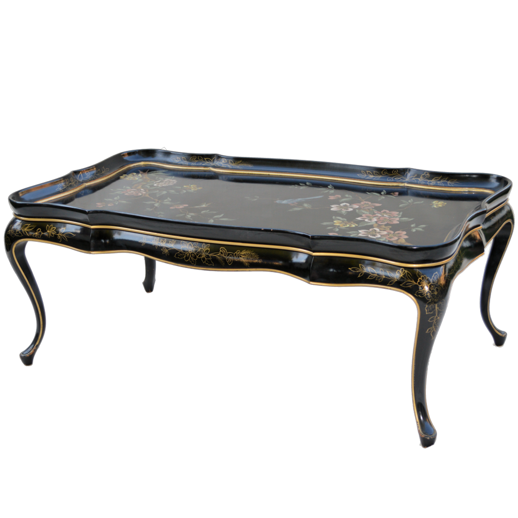 Mid Century Black Lacquer Asian Coffee Table Mid Century Old
