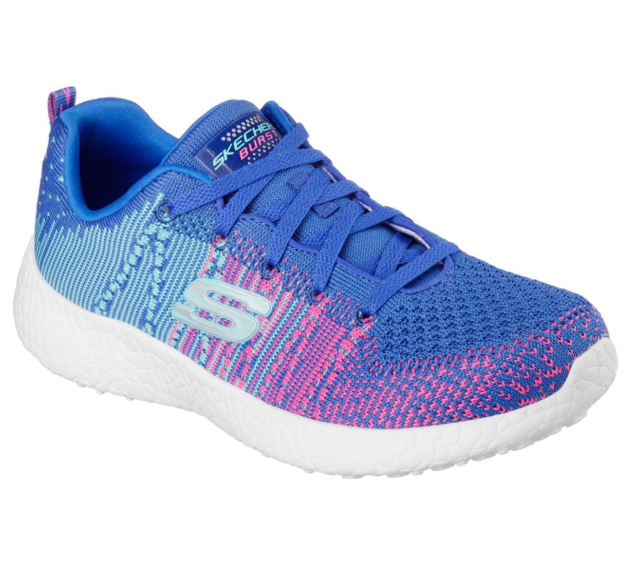 1fda90b9770 12437 Blhp Blue Pink Skechers Shoes Burst Memory Foam Women'S Knit Sport  Comfort
