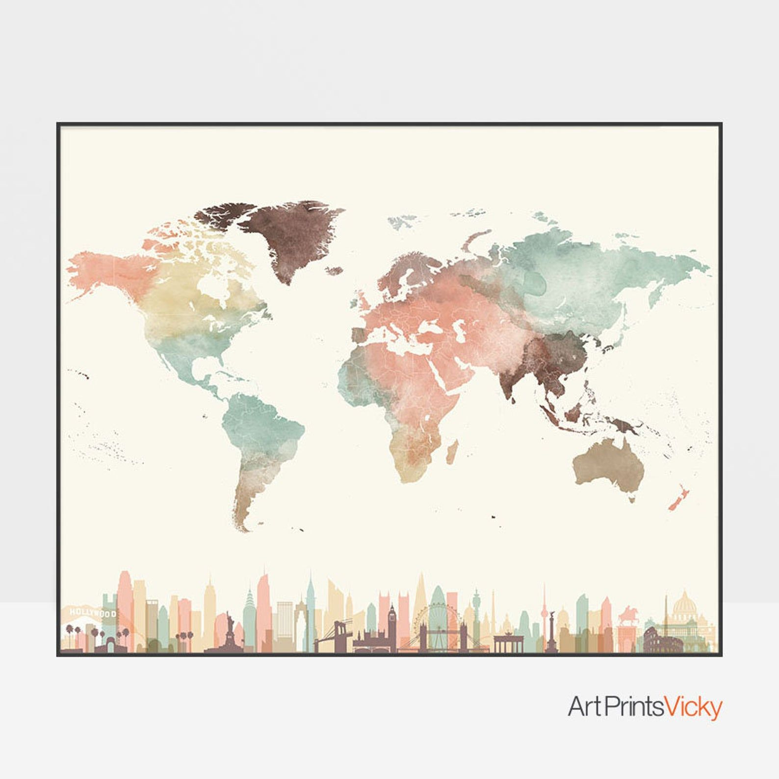 World map, world map poster, Travel map, skyline wall art