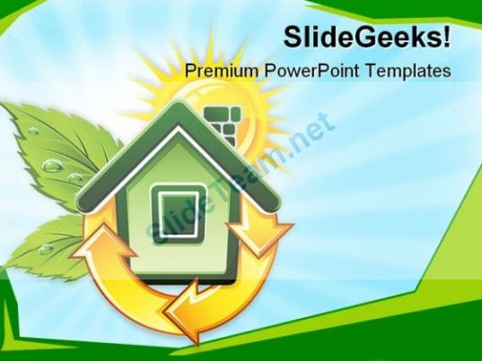 Symbol Of Ecological House Environment Powerpoint Templates And