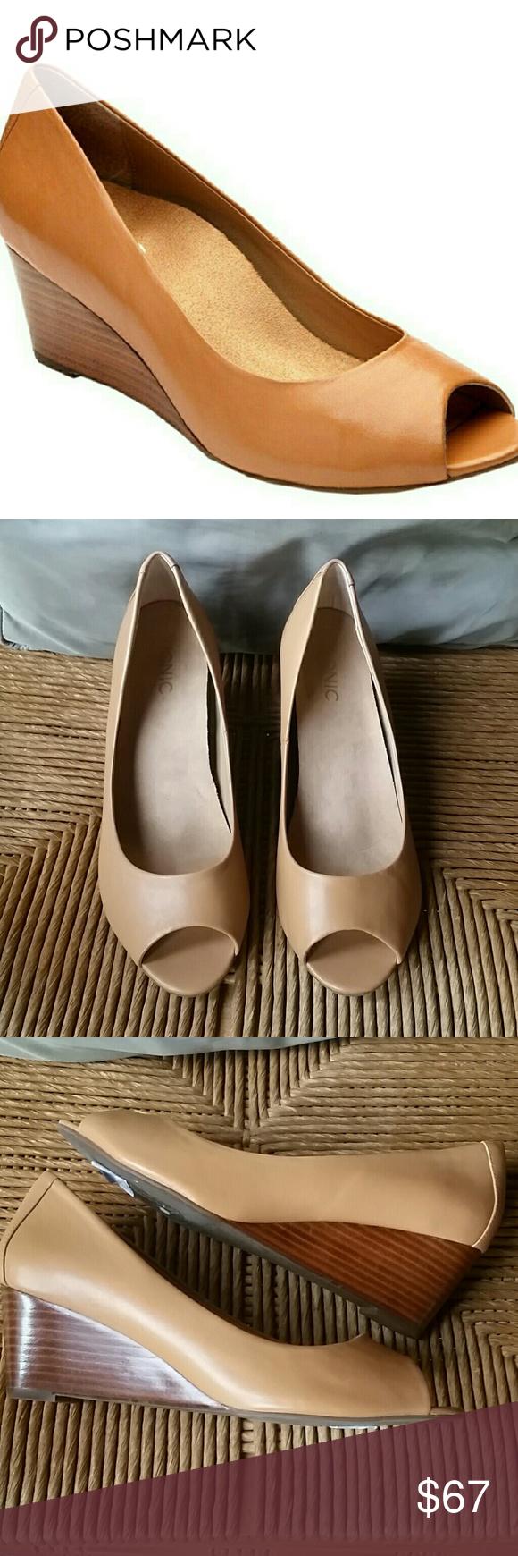 Vionic Bria peep toe, size 8.5, caramel