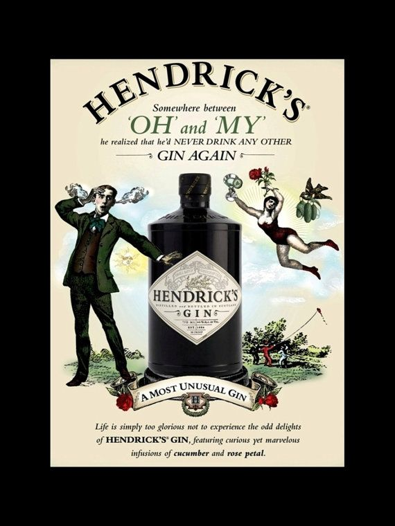 Gin Poster Hendrick\'s Most Unusual Gin Ad Bar by ArleyArtEmporium ...