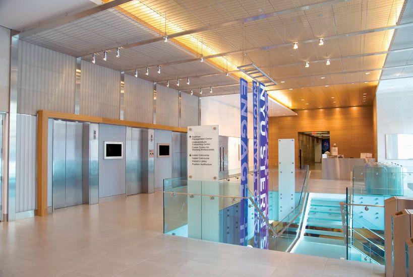 Tyler Mesh Wall Cladding Interiors Nyu New York University Stern School Of Business Stainless