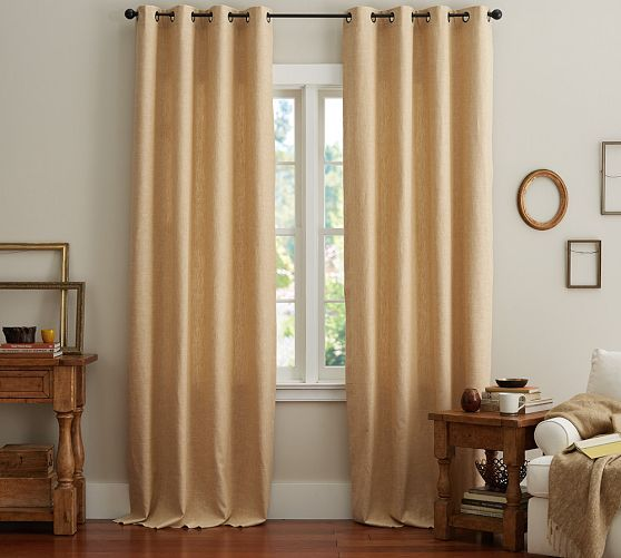 Emery Linen Grommet Curtain Blue Dawn Master Bedroom