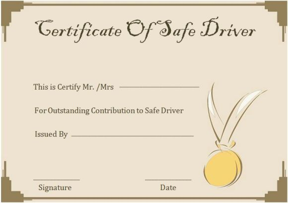 Safe Driver Certificates Safe Driving Certificate Template
