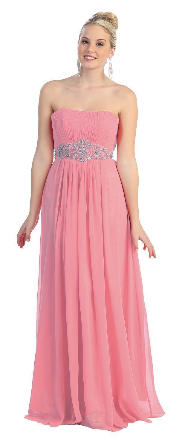 Long Evening Strapless Plus Size Formal Gown Bridesmaids Prom Dress ...