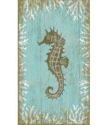 Highland Dunes Seahorse Right by Suzanne Nicoll Graphic Art Plaque   Wayfair
