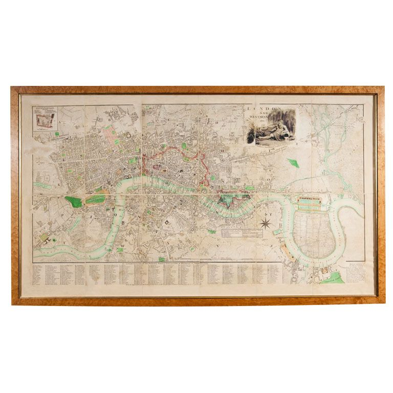 Framed Map Of London And Westminster In 1801 | Collections - Maps ...