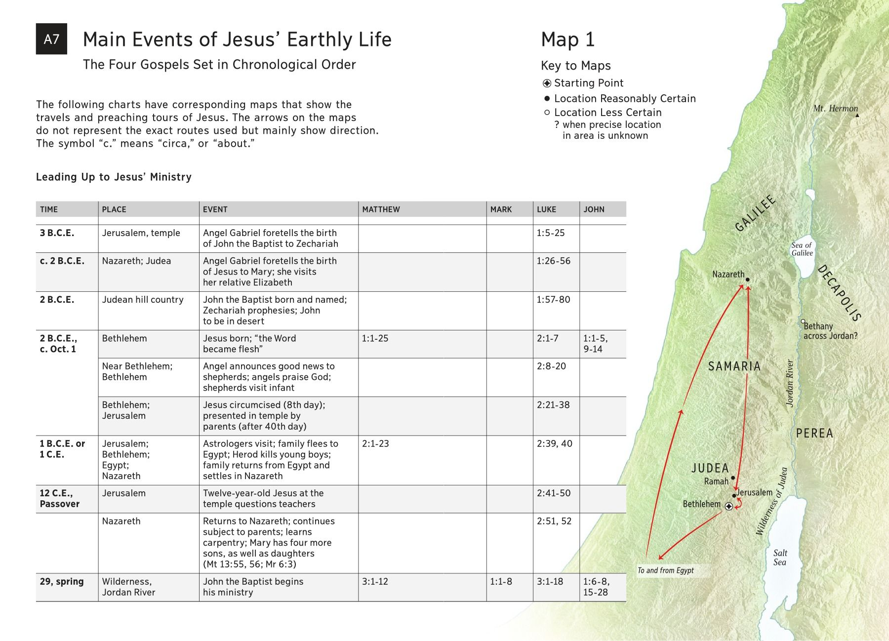 important events in jesus u0027 life on earth chart and map jesus