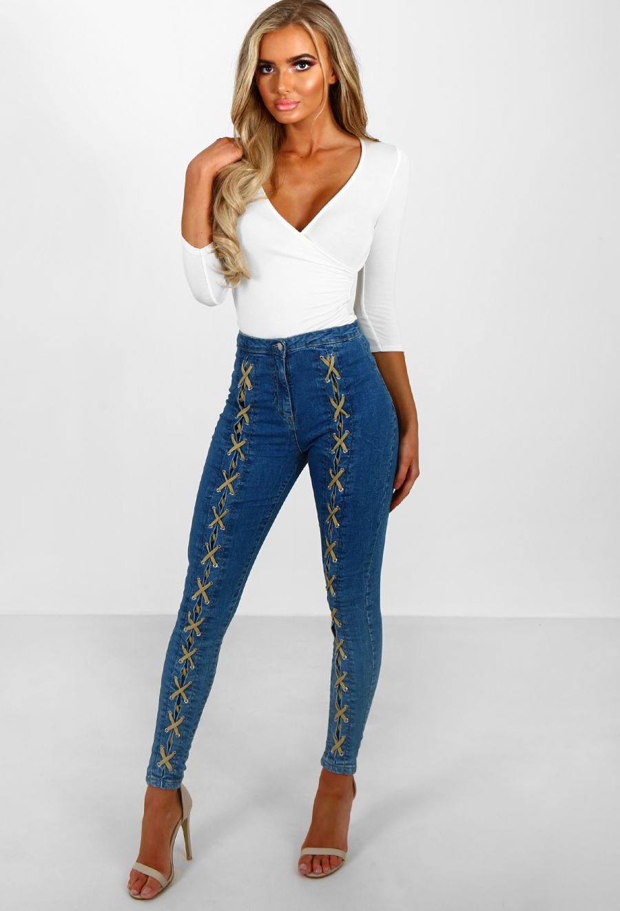 Lace of my life blue lace up skinny jeans blue lace and skinny jeans
