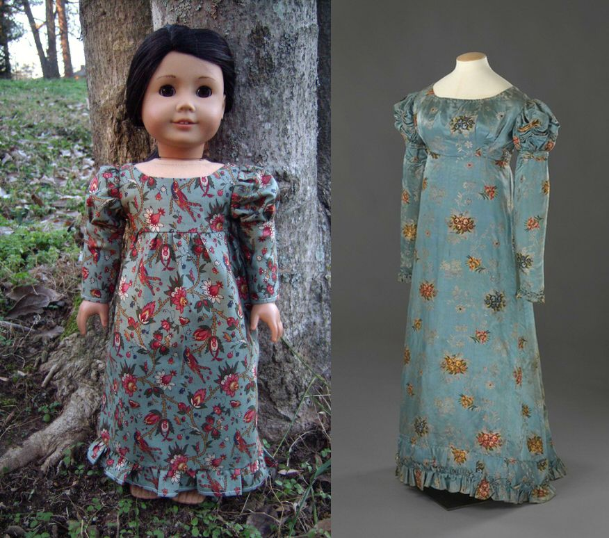 1819 Regency Turquoise Dress (Replica of Antique Dress) for American Girl Dolls - by Morgan May @ Stardust Dolls