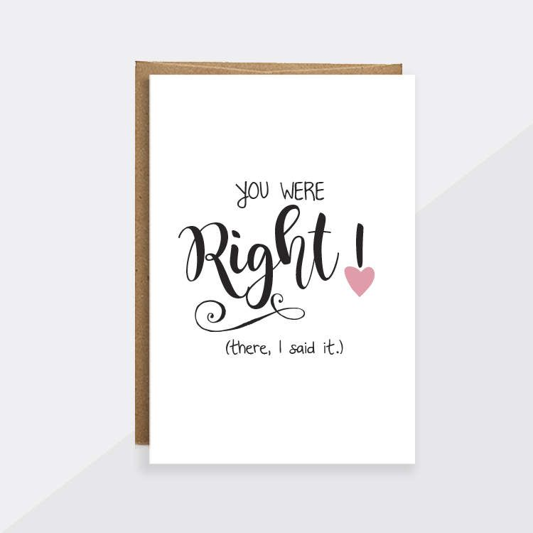 "Funny Card For Mom ""You Were Right"" Funny Mothers Day Card"