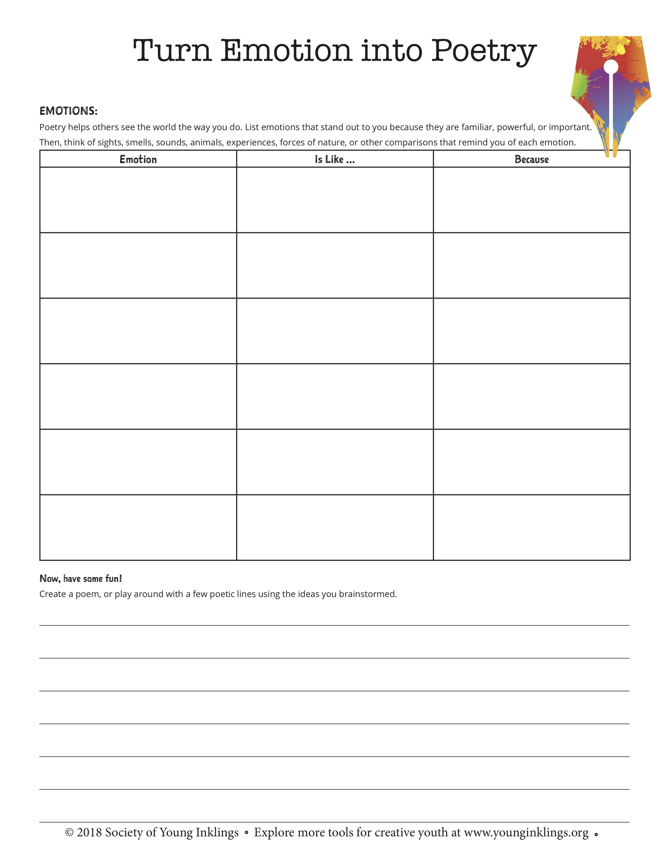 Writing Worksheet - Poetry   Poetry analysis worksheet [ 3300 x 2550 Pixel ]