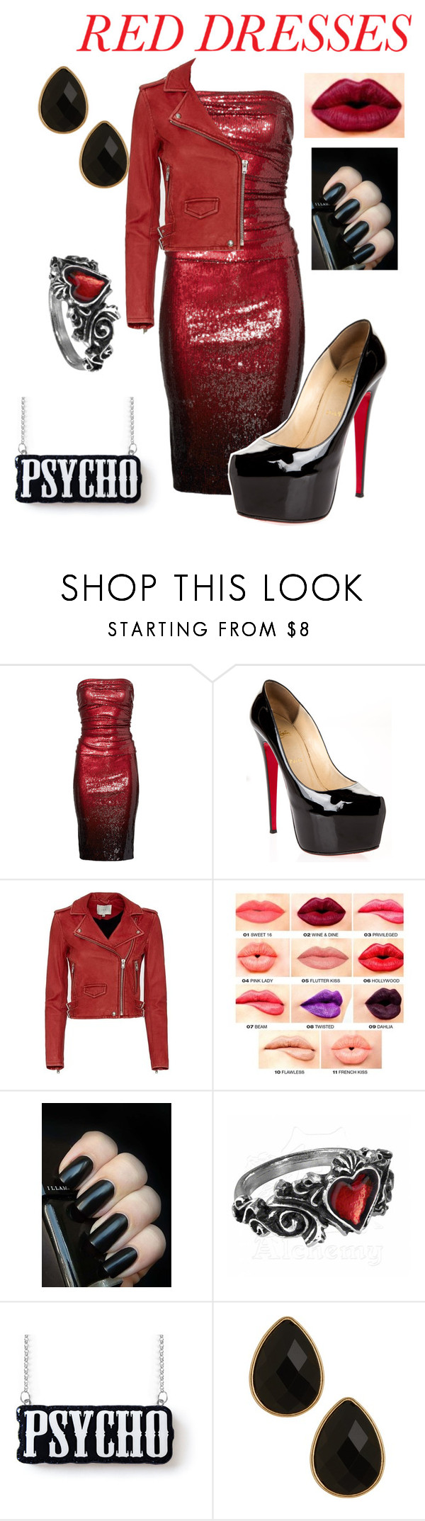 """""""Blood red"""" by ravenclawcrown on Polyvore featuring Donna Karan, Christian Louboutin, IRO, NYX, Natasha Accessories, women's clothing, women, female, woman and misses"""