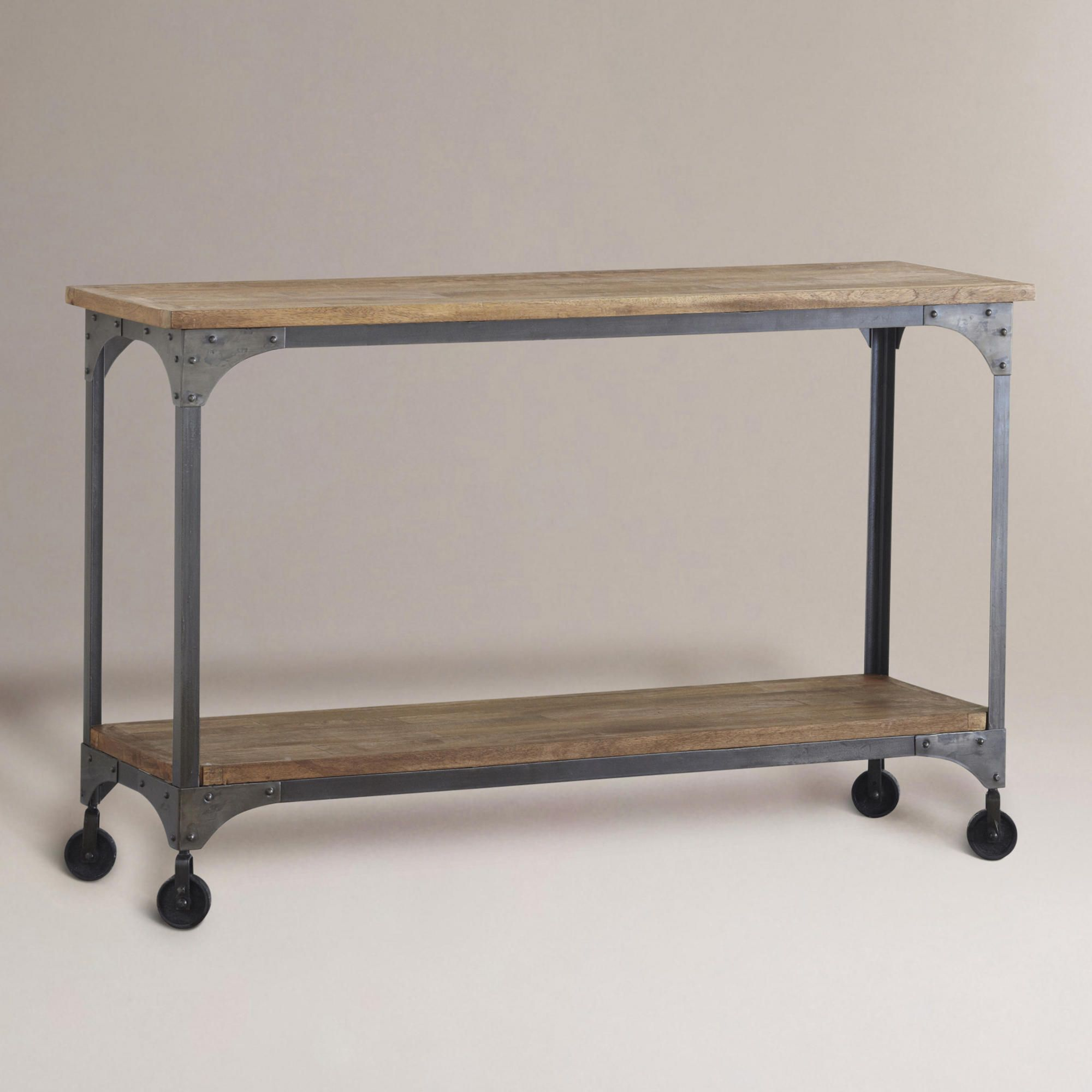 Wood and metal aiden console table console tables consoles and wood and metal aiden console table geotapseo Images