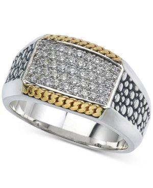 Esquire Men Jewelry Two Tone Textured Diamond Ring 1 2 Ct T W